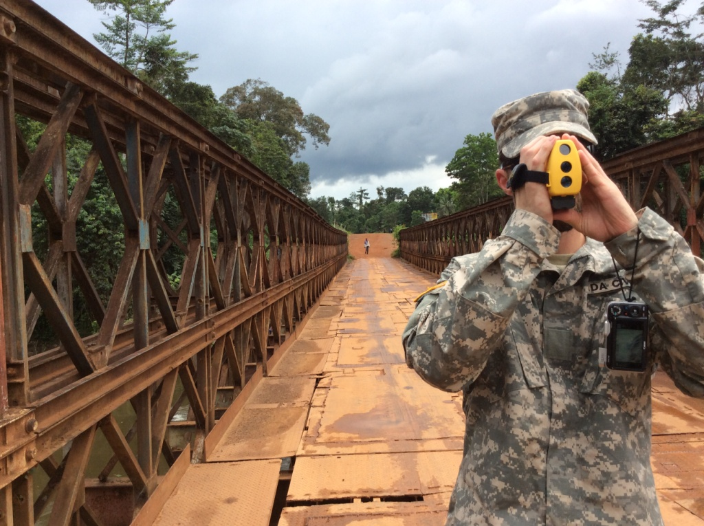district engineer conducts bridge recon in liberia