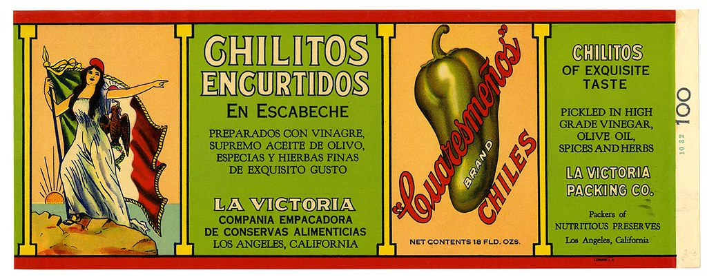 Chilitos encurtidos en escabeche label, Cuaresmeños Brand, Lehmann Printing and Lithographing Co. | by California Historical Society Digital Collection