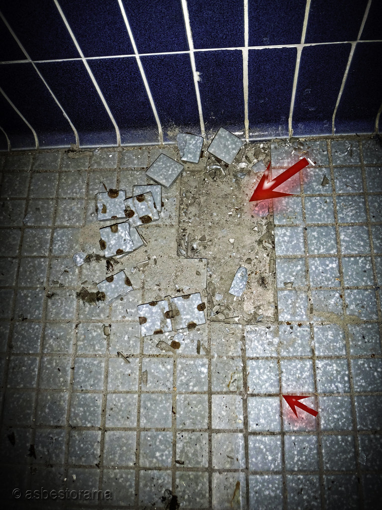 Asbestos In Mortar : Asbestos ceramic floor tile grout mortar bed view of