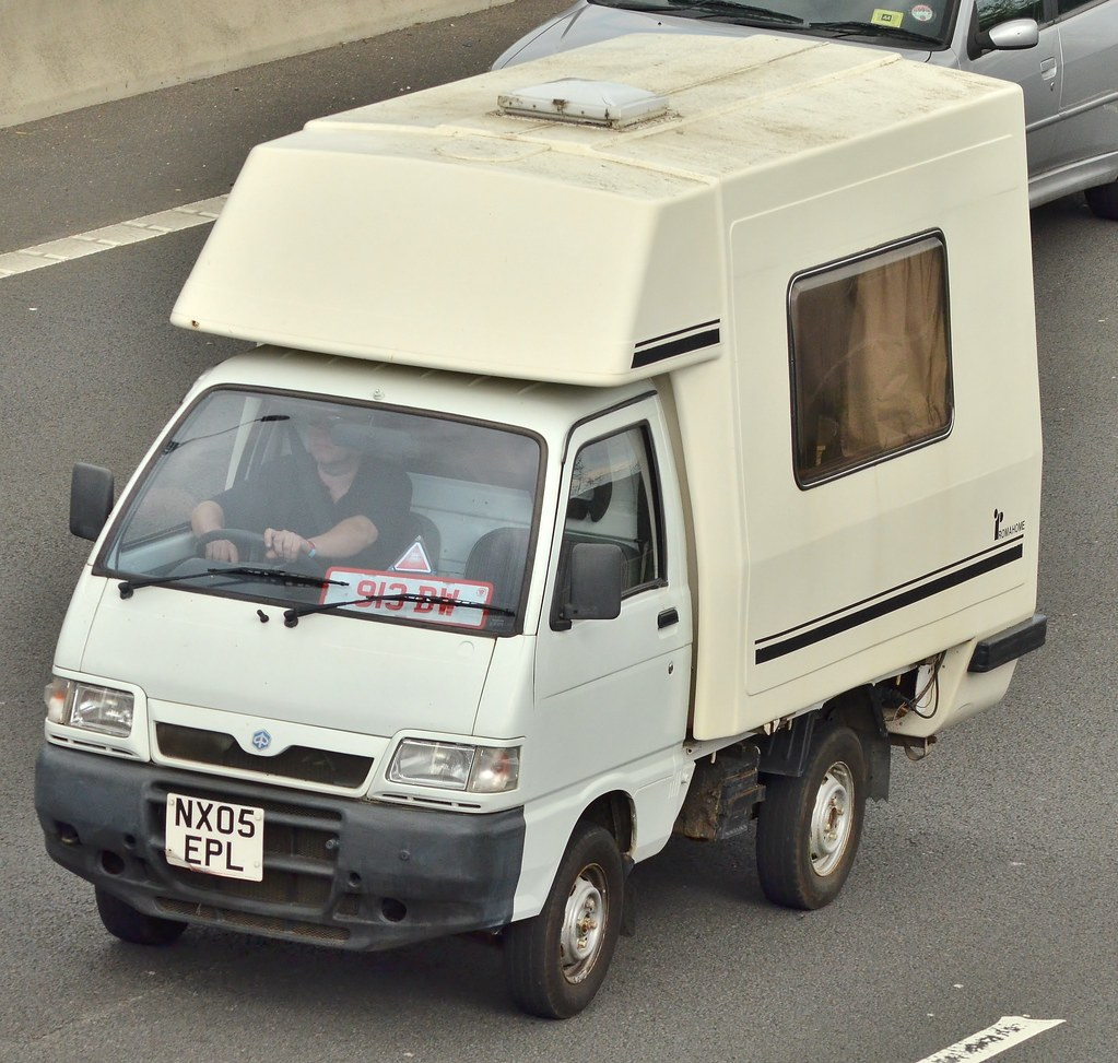 piaggio porter campervan seen on the m4 in newport south flickr. Black Bedroom Furniture Sets. Home Design Ideas