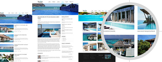 blog and gallery page travel theme