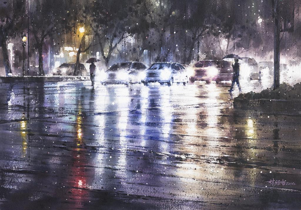 林經哲《夜的交會》 2014 水彩 38 215 55cm (私人收藏) Ching Che Lin Flickr
