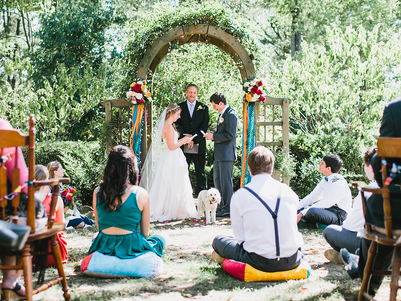 Colorful decor at this Virginia wedding from @offbeatbride