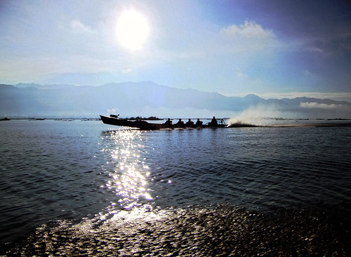 Boat trip through the shining waters of Inle Lake in Myanmar