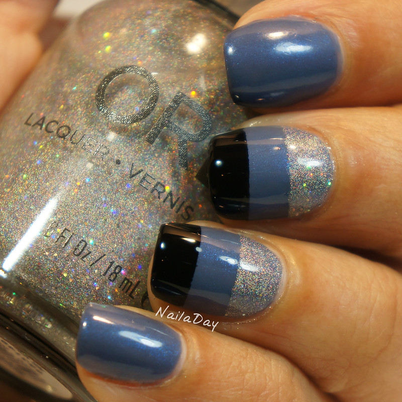 NailaDay: Color Block with Barielle Slate of Affairs and Orly Mirroball