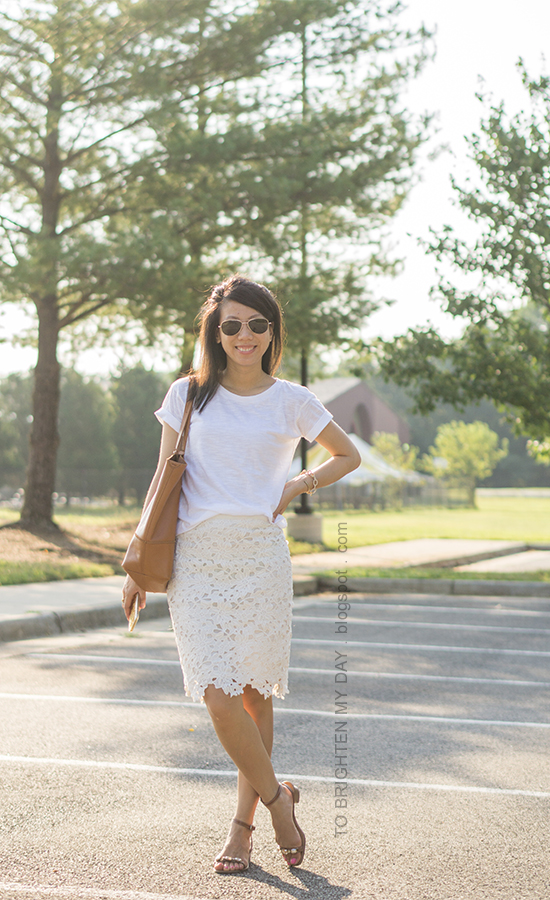 white tee, off-white floral pencil skirt, gold jewelry, cognac brown tote, brown jeweled sandals