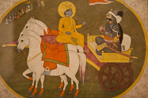 Krishna and Arjuna (Kangra Pahari, 19th c. Delhi Museum)
