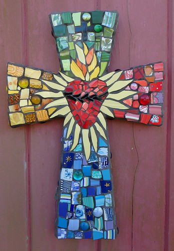 Sacred Heart Mosaic Art Cross Custom Order Measures