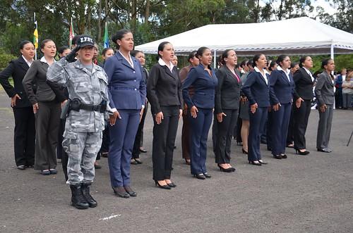 Las aspirantes corearon con fervor el himno nacional del e for Ministerio del interior policia nacional del ecuador