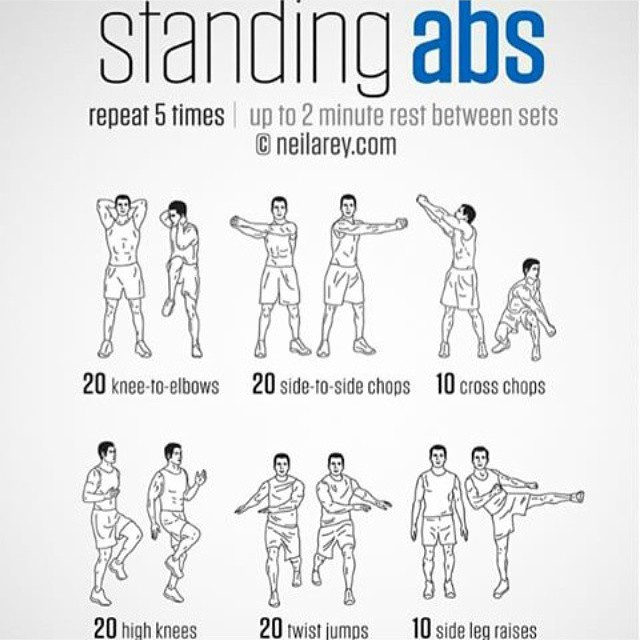 Standing Abs Exercise Fitness Workout Exercises HIIT Learn