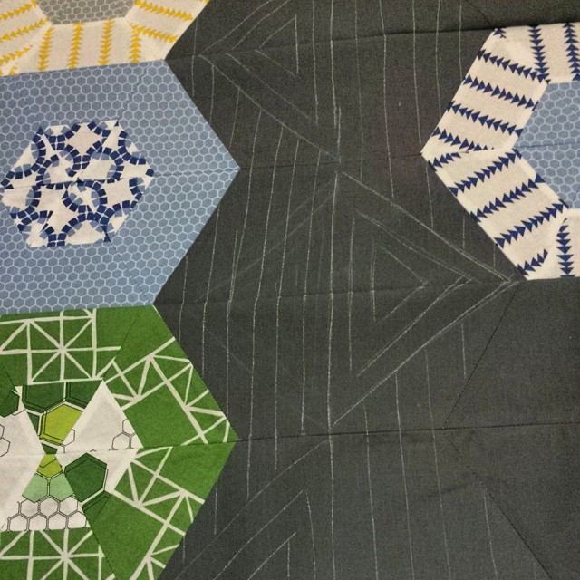 sketching out a possible quilting motif. Got alot of gray space to fill.