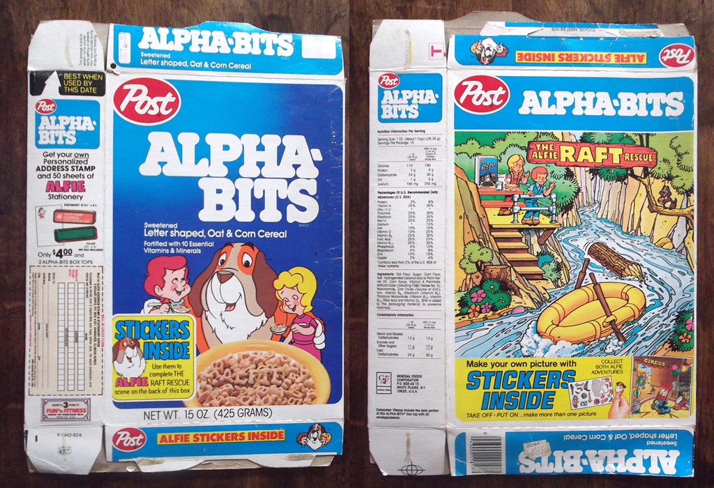 1983 post alpha bits cereal box alfie stickers by gregg koenig