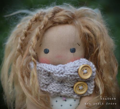 "Heather, 9"" Petite Fleur natural fiber art doll"