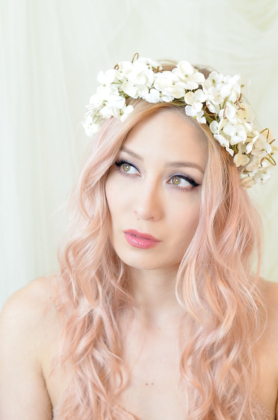 Flower Crown Wedding Headpiece Floral Headband Ivory Hy