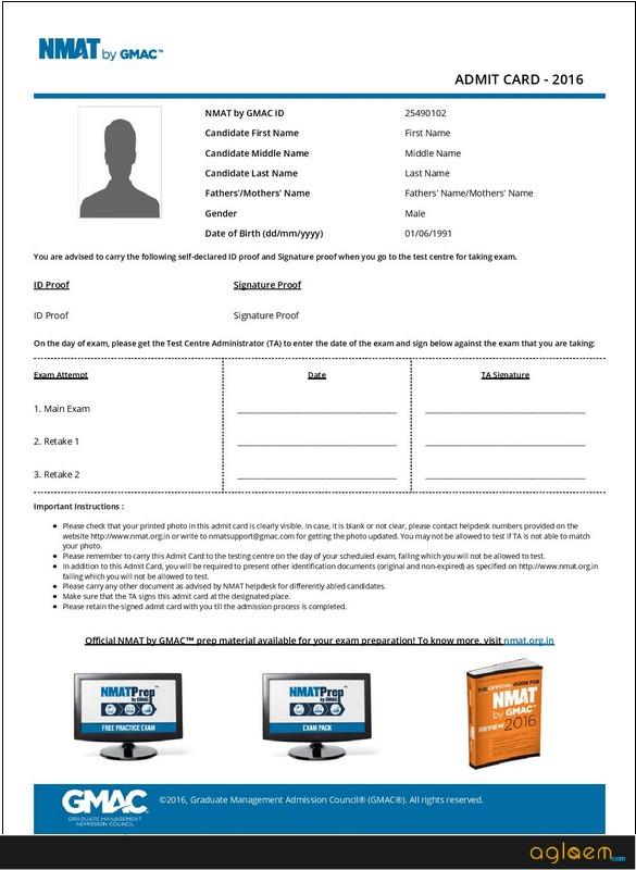 NMAT 2018 Admit Card