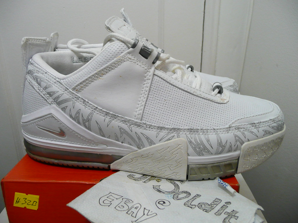 sports shoes 22030 93b64 ... nike zoom lebron ii 2 low white white metallic silver laser design size  ...