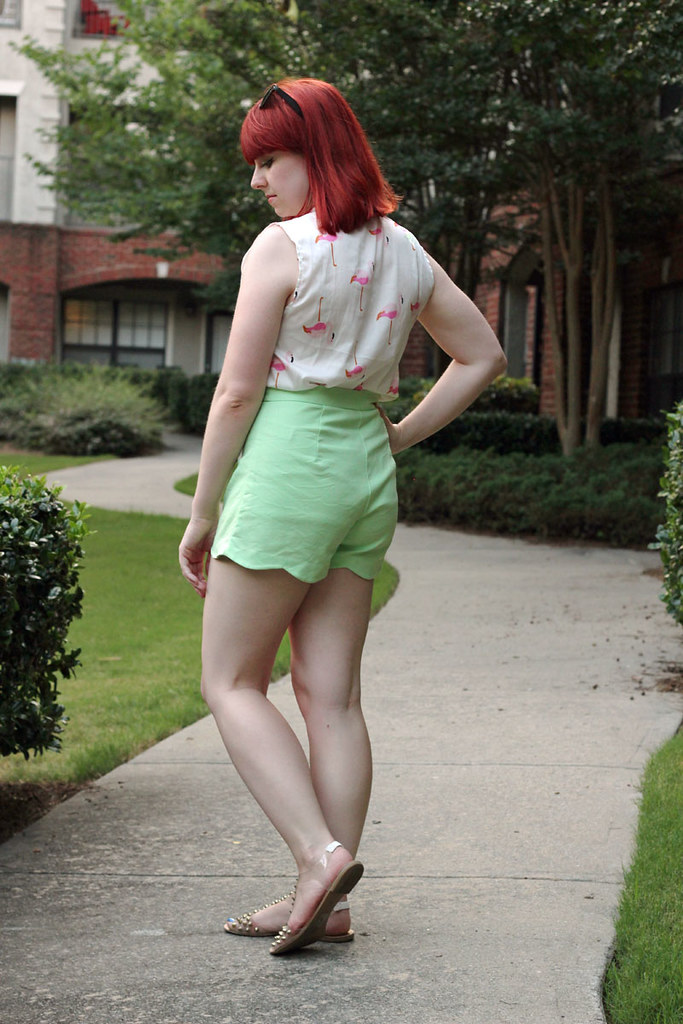 Pastel Green F21 Shorts Sleeveless Flamingo Print Shirt Red Hair