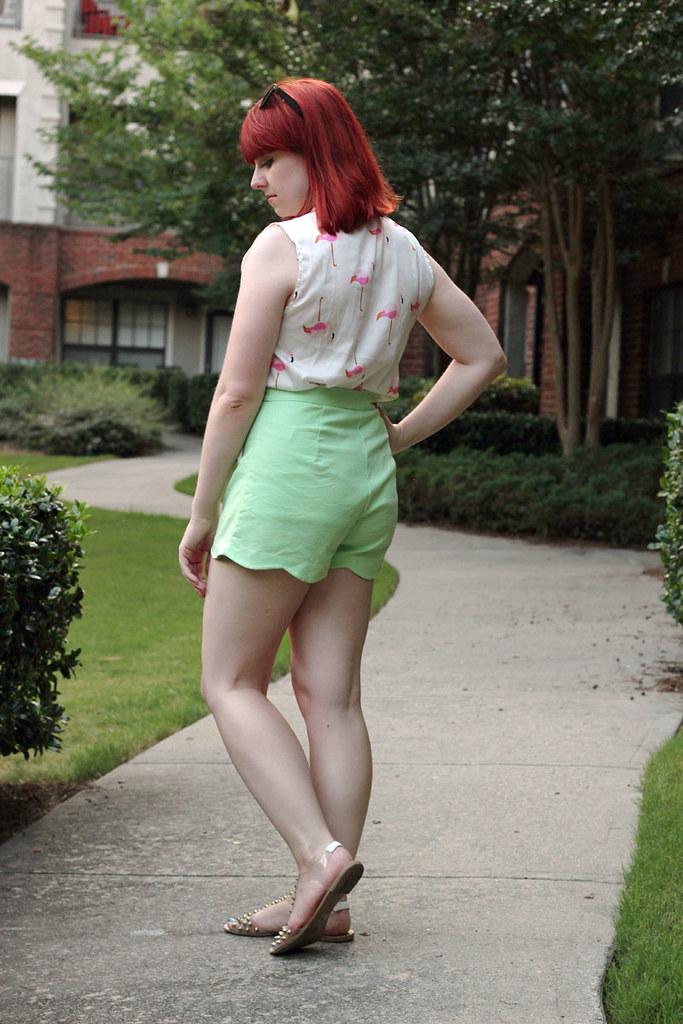Pastel Green F21 Shorts Sleeveless Flamingo Print Shirt Red Hair