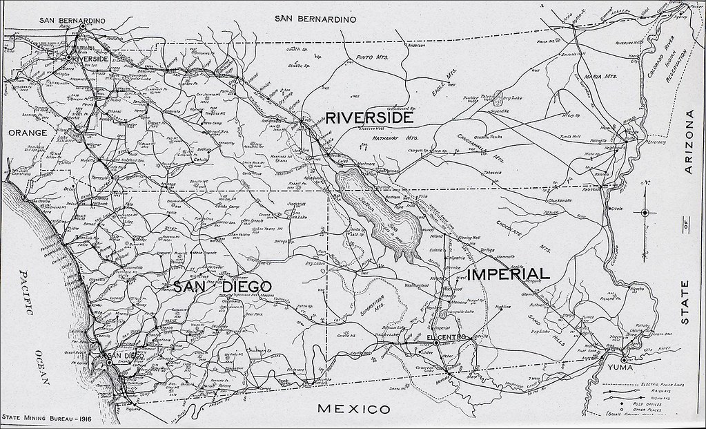 Riverside County Map 1916 Cal State Mining Bureau By Clamshack