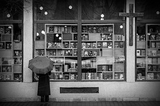 The book shop, the cross and the umbrella | by Pierre Pichot