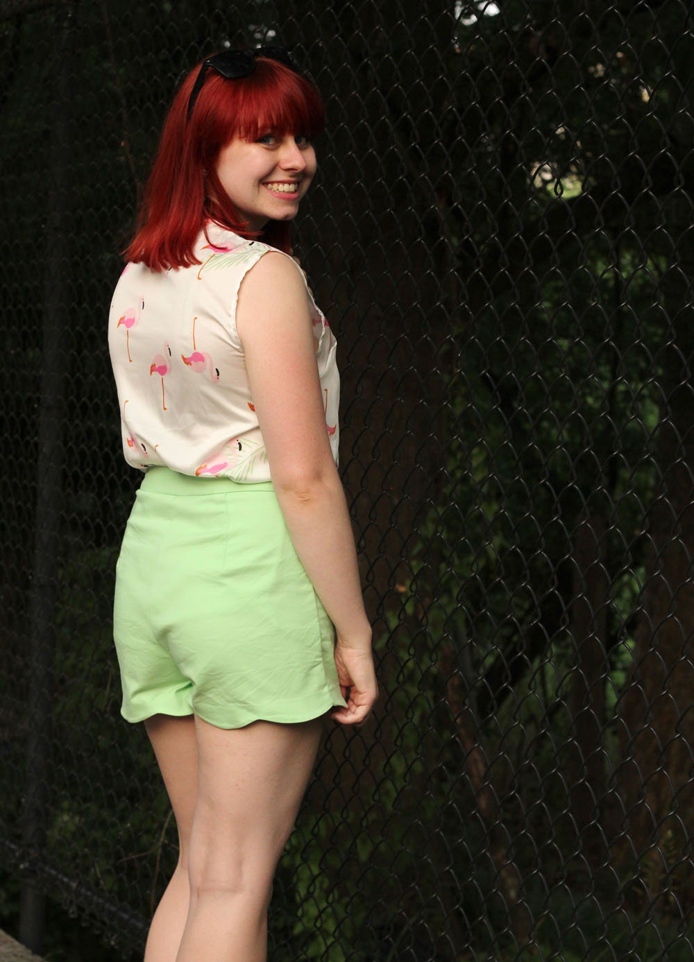 Back Outfit View Light Green Shorts Novelty Print Top Red Hair