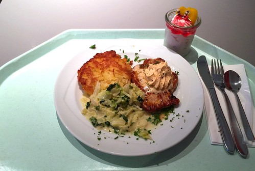 Pork steak with café de paris butter, potato pancake & cream savoy / Schweinerückensteak mit Café de Paris Butter, Kartofelplätzchen & Rahmwirsing