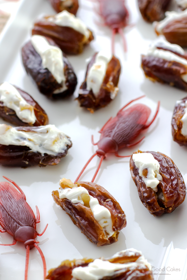 Gross out your friends - dates stuffed with cream cheese and walnuts to look like roaches