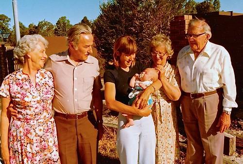 Jill & baby Luke Weaver with Webber & Weaver grandparents, Christmas 1978