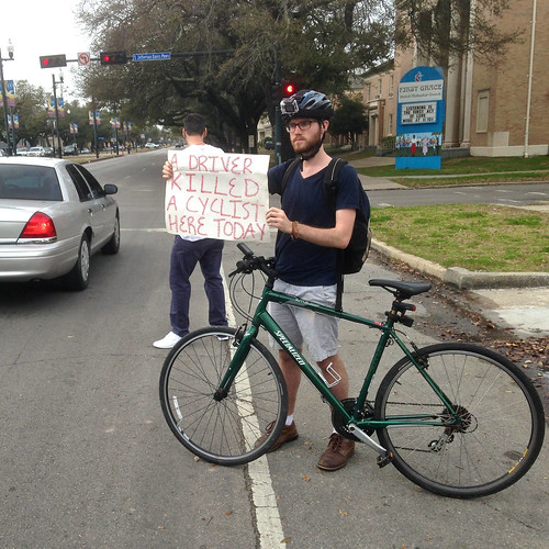 """A driver killed a cyclist here today."" 