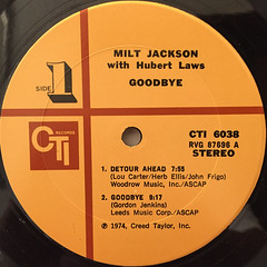 MILT JACKSON:GOODBYE(LABEL SIDE-A)