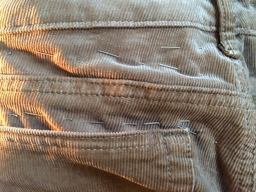 Altering my low rise corduroy skinny jeans to stay put at the waist | by FreckledPast