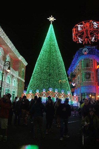 Osborne Lights - christmas tree and crowd