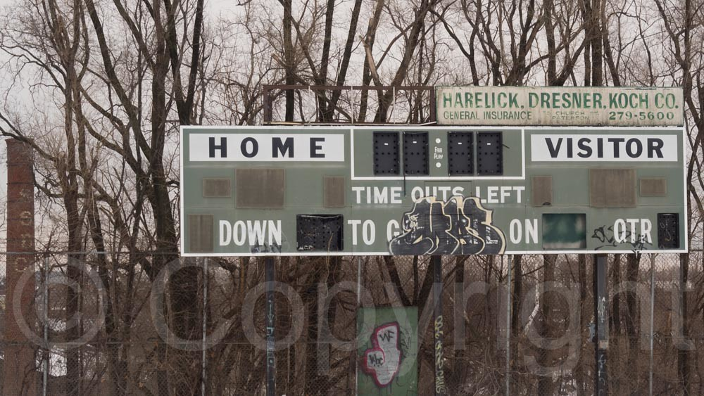 Vintage Football Scoreboard At Historic Hinchliffe Stadium Paterson New Jersey