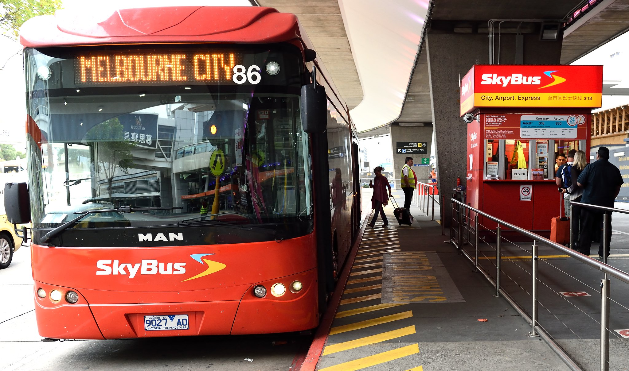 Airport express SkyBus at Melbourne Airport