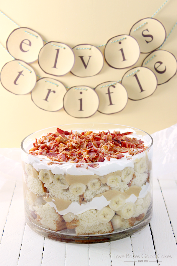 Elvis Trifle with Bacon in a glass bowl.