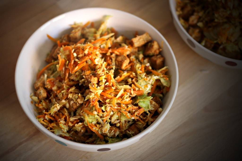 Stir fried cabbage with carrot and tofu in bowl
