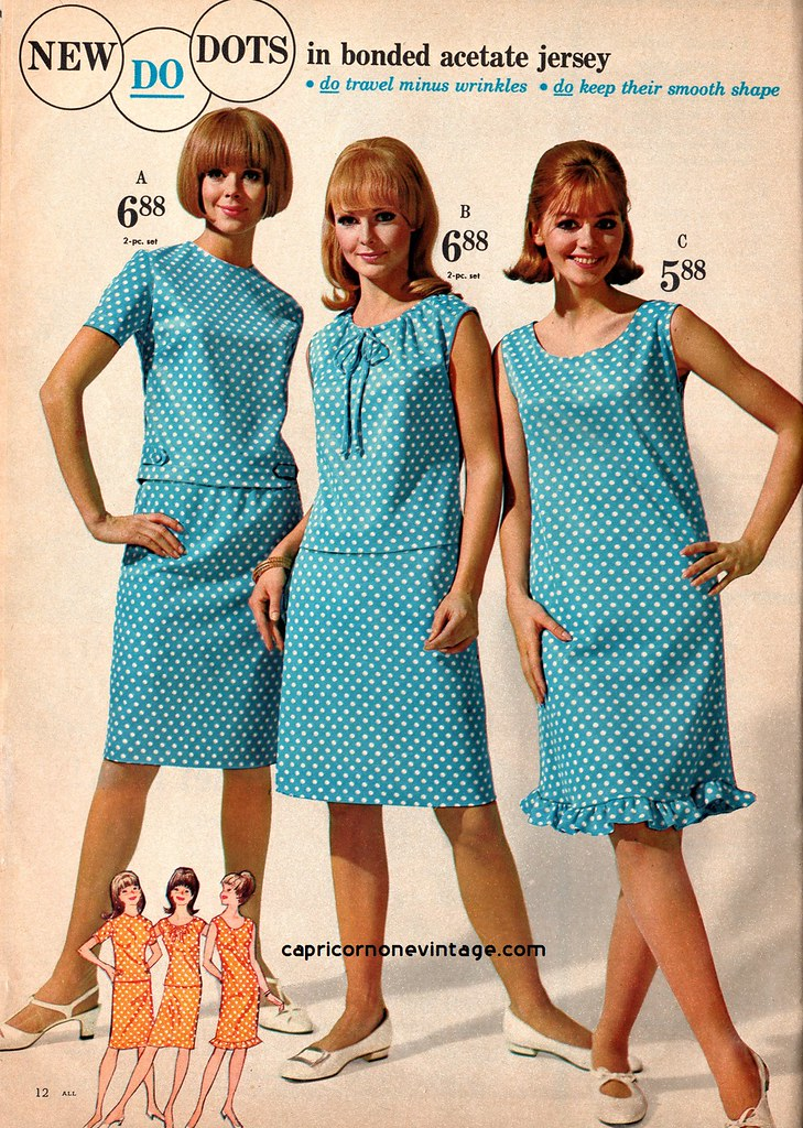 Montgomery ward 1967 summer sale polka dots in bonded for Sears dress shirts sale