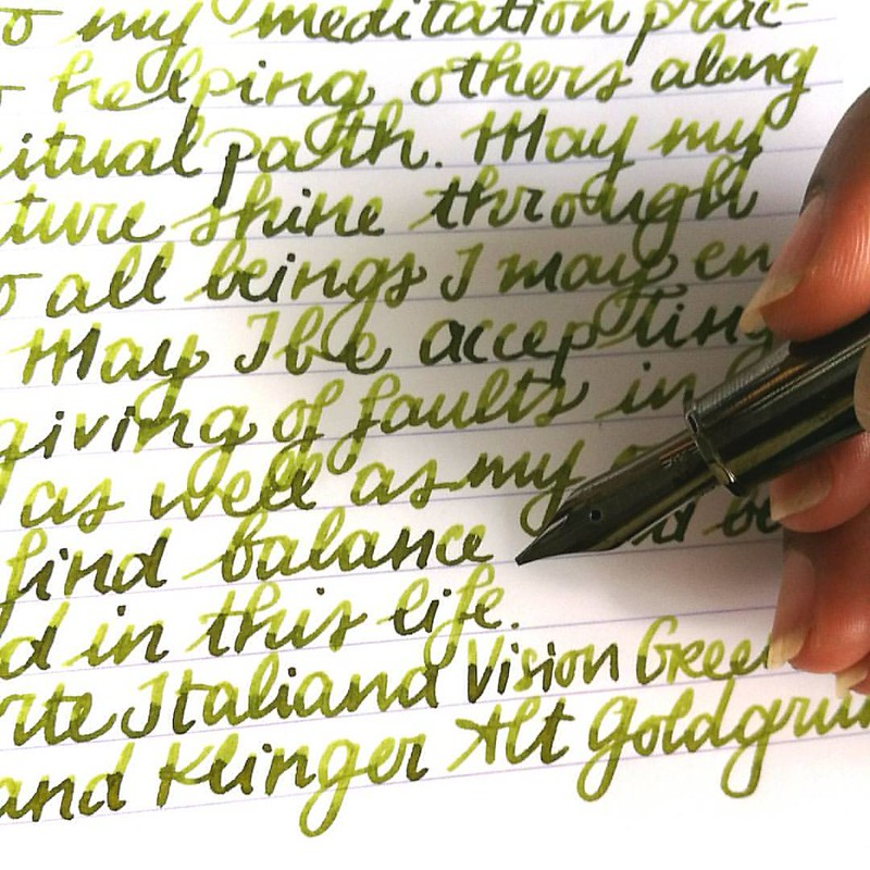 The magical Alt Goldgrün in my Omas Vision Liquid Green with a juicy B nib for #inkyfridayfun @justvanness #fountainpenfriday #omas #FPN #fpgeeks #mettameditation #writtenmeditation #lovingkindness #loveforanalogue #green #sheeny #sheenyink #sheen #notcha
