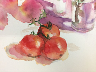 Watercolour painting of Tomatoes by Ako Lamble | by Northshore School of Art