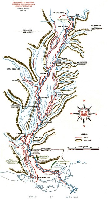Figure 2 Mississippi River Floodplain and levee system. USACE