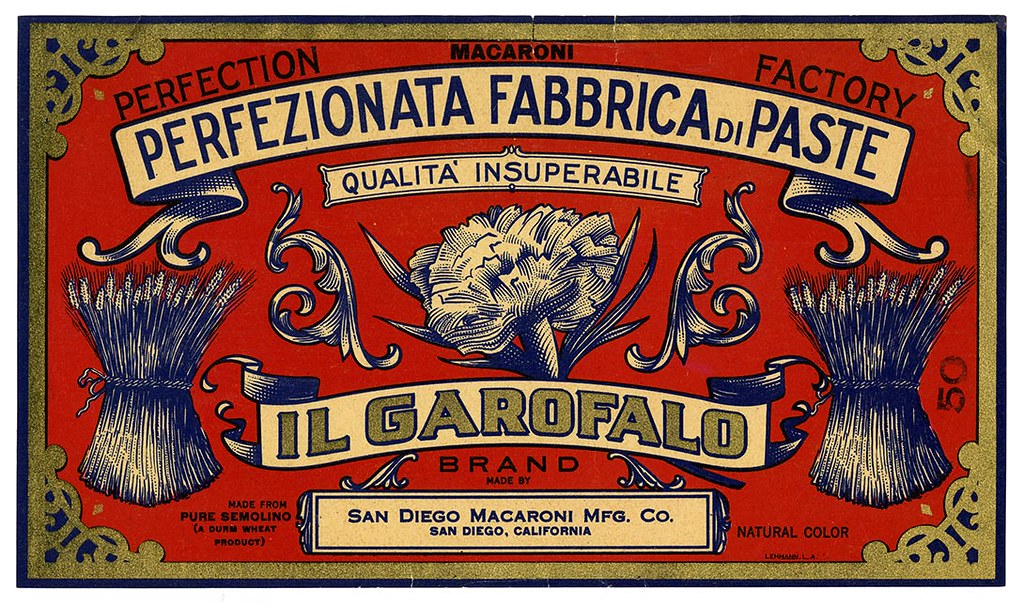 Macaroni label, Il Garofalo Brand, Lehmann Printing and Lithographing Co. | by California Historical Society Digital Collection