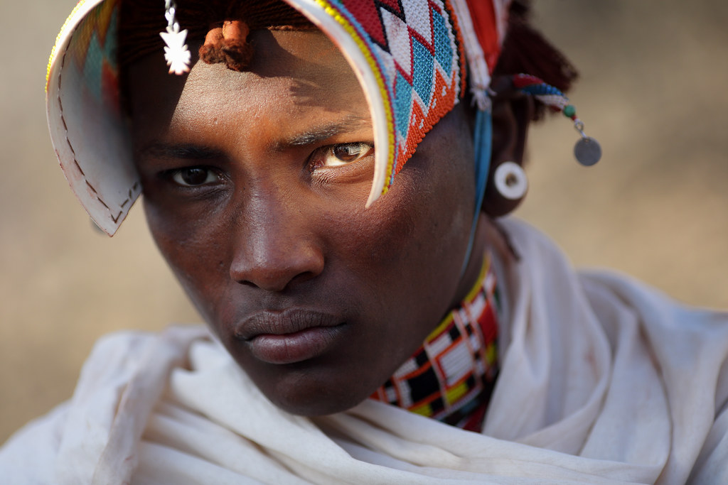 Kenya, Samburu warrior (moran) | Portrait of a Samburu