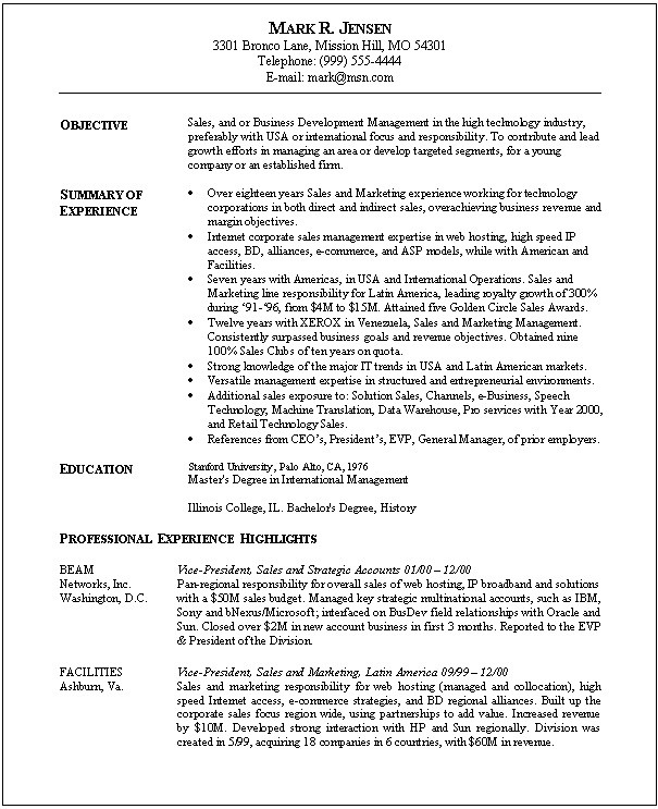 resume samples for sales and marketing