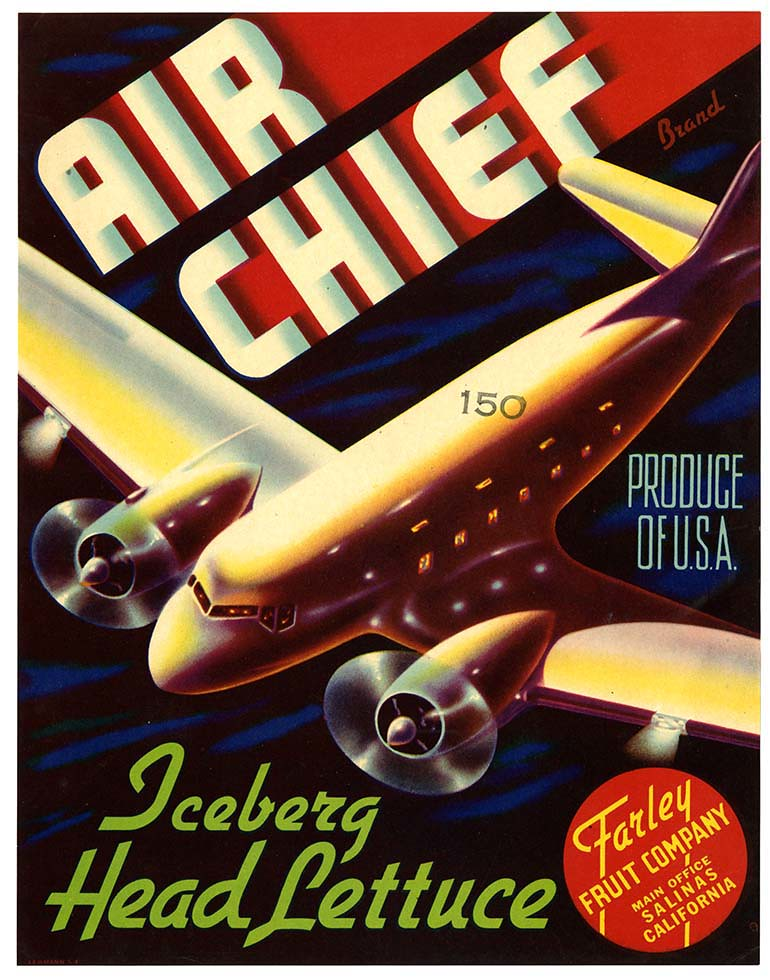 Lettuce crate label, Air Chief Brand, Lehmann Printing and Lithographing Co. | by California Historical Society Digital Collection