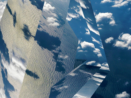 clouds reflected in geometric shapes using the photo app Matter