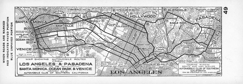 Aaa California Map.Map Showing Automobile Routes From Los Angeles And Pasaden Flickr