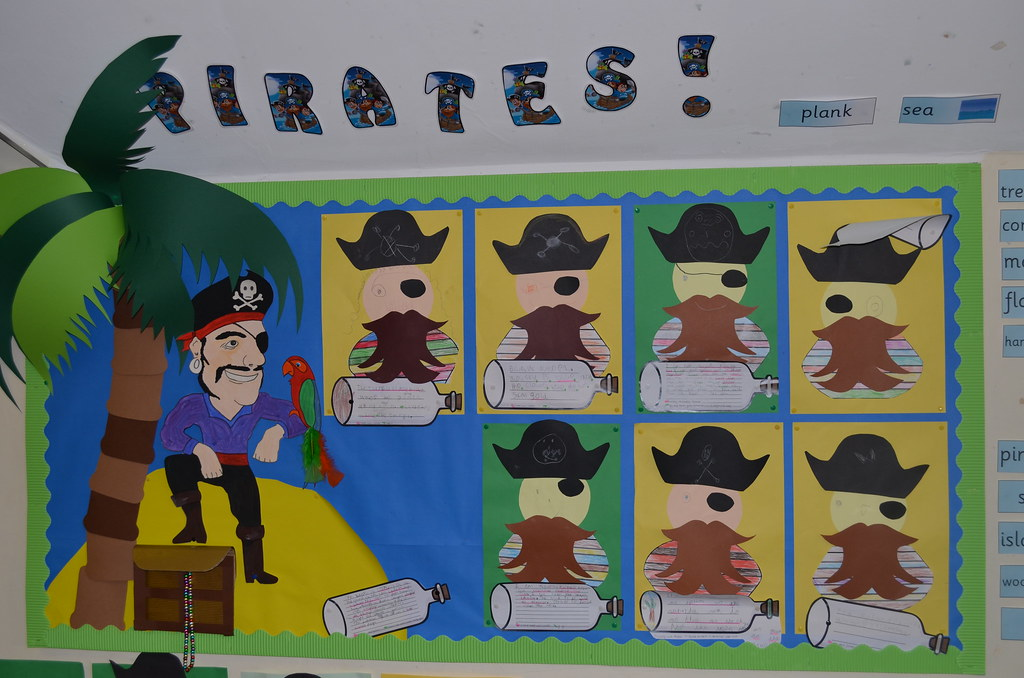 pirate display board children made pirates and wrote