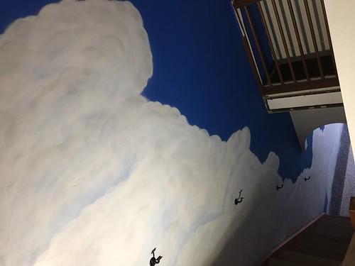 Wolken muurschildering