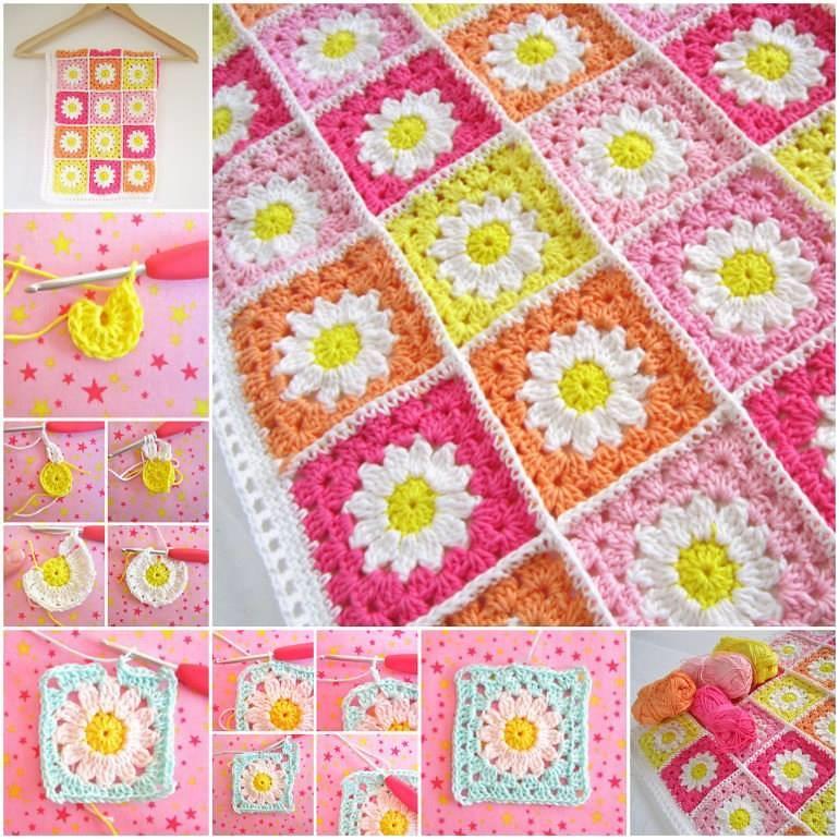 Crochet Daisy Flower Square Blanket Free Pattern For Croch Flickr