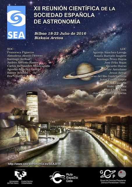 Cartel de la XII Reunión Científica de la Sociedad Española de Astronomía (SEA), Bilbao 18-22 julio 2016.